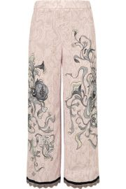 Prada   Cropped chain-trimmed printed crepe straight-leg pants at Net A Porter