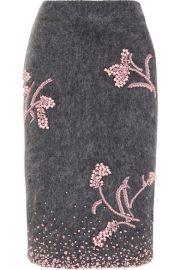 Prada   Embellished mohair-blend pencil skirt at Net A Porter