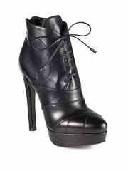 Prada - Leather Lace-Up Platform Ankle Boots at Saks Fifth Avenue