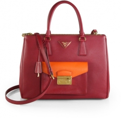 Prada - Saffiano Lux Bicolor Top-Handle Bag in Pink at Saks Fifth Avenue