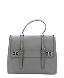 Prada Marble Grey Leather Buckle Detail Convertible Tote Bag at Bluefly