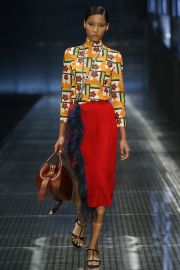 Prada Red Feather Skirt at Vogue