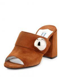 Prada Suede Chunky-Heel Slide Sandal  Palissandro at Neiman Marcus