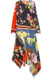 Preen Line   Kara asymmetric printed crepe de chine midi dress at Net A Porter