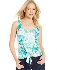 Pretty Rebellious Juniors Tie-Front Tank Top in Leaf Print at Macys