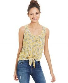 Pretty Rebellious Juniors Tie-Front Tank Top in Yellow at Macys