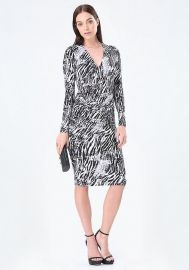 Print Surplice Midi dress at Bebe