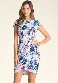 Print Wrap Skirt Dress at Bebe