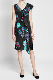 Printed Silk Dress with Ruffle at StyleBop