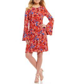 Printed Bell Sleeve Dress at Dillards