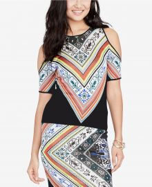 Printed Cold-Shoulder Top at Macys
