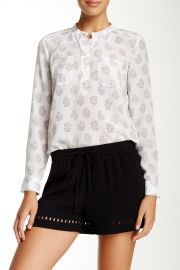 Printed Double Pocket Silk Blouse at Nordstrom Rack