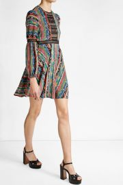 Printed Dress with Lace at Stylebop
