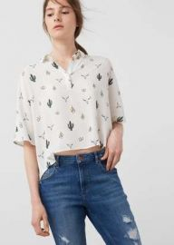Printed Flowy shirt at Mango