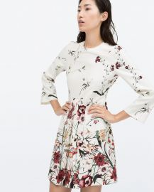 Printed Front Pleat Dress with Pocket at Zara