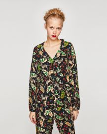 Printed Pyjama Style Shirt by Zara at Zara