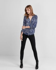 Printed Ruched Sleeve Zip-front Shirt at Express