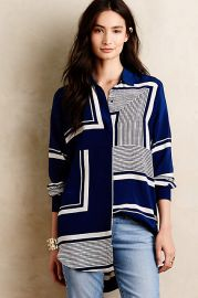 Printed Silk Buttondown in Blue at Anthropologie