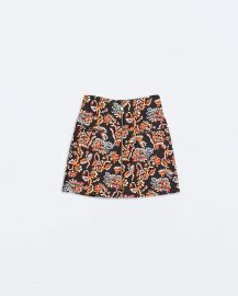 Printed Skirt with Front zip at Zara