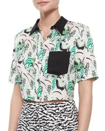 Printed Stretch-Silk Crop Top at Neiman Marcus