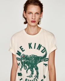Printed T-shirt with Front Appliques at Zara