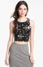Printed crop racerback tank by Mimi Chica at Nordstrom