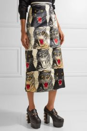 Printed silk-charmeuse midi skirt at Net A Porter