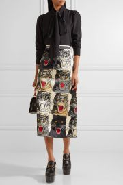 Printed silk-charmeuse midi skirt at Net A Porter