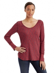 Printed thermal top in washed red by Free People at Lord & Taylor