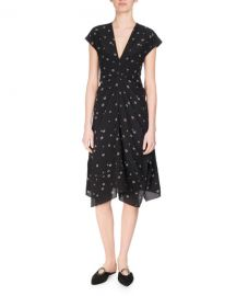 Proenza Schouler Rocket Sunflower Silk Cap-Sleeve Midi Dress black at Neiman Marcus