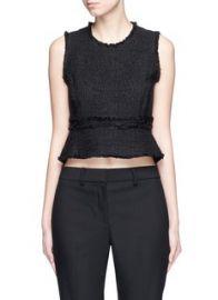 Proenza Schouler   Frayed tweed sleeveless peplum top   Lane Crawford - Shop Designer Brands Online at Lane Crawford
