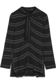 Proenza Schouler   Knotted tie-front striped crepe top at Net A Porter