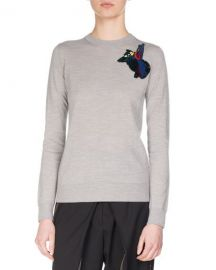 Proenza Schouler Embroidered-Patch Wool Sweater  Gray at Neiman Marcus