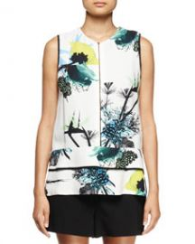 Proenza Schouler Sleeveless Ikebana-Print Blouse WhiteBlueGreen at Neiman Marcus