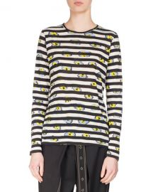 Proenza Schouler Striped Ikat Pansy Long-Sleeve T-Shirt  Black White at Neiman Marcus