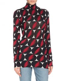 Proenza Schouler Turtleneck Long-Sleeve Lightning-Bolt Silk Top at Neiman Marcus