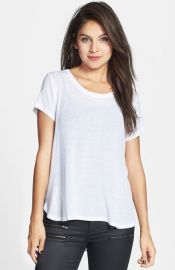 Project Social T Crewneck Side Split Tee in white at Nordstrom