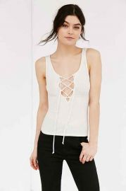 Project Social T Lace-Up Ribbed Tank Top at Urban Outfitters