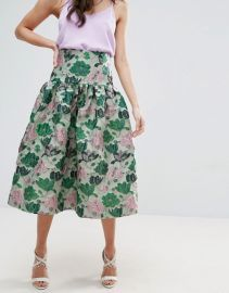 Prom Skirt with Deep Basque in Floral Jacquard at ASOS