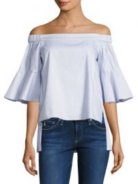 Prose   Poetry - Shane Striped Off-The-Shoulder Bell Sleeves Cotton Top at Saks Fifth Avenue