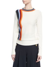 Public School Nell Crewneck Knit Sweater with Stripes x at Neiman Marcus