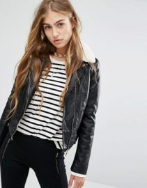 Pull Bear Fur Collar Biker Jacket at asos com at Asos