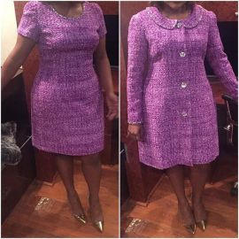 Purple coat and dress at Salvador Perez