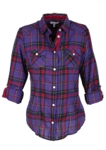 Purple plaid shirt at Delias at Delias