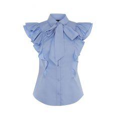 Pussy-Bow Frill Shirt by Karen Millen at Karen Millen