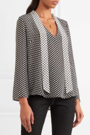 Pussy-bow Star-print Silk Crepe de Chine Blouse by Rixo London at Net A Porter