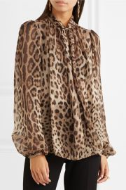 Pussy-bow leopard-print silk-chiffon blouse by Dolce & Gabbana at Net A Porter