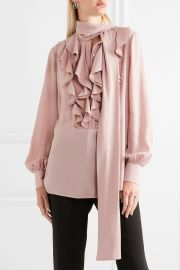 Pussy-bow ruffled silk-georgette blouse by Alexander McQueen at Net A Porter