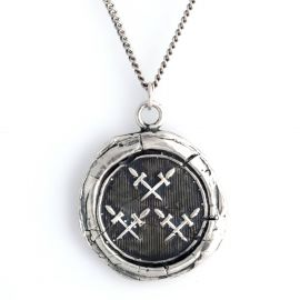 Pyrrha Crossed Swords Talisman Necklace at Wolf & Badger