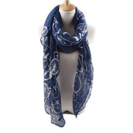 Quest Sweet Soft Voile Fabric Sheer Infinity Bicycle pattern Scarf Navy at Amazon